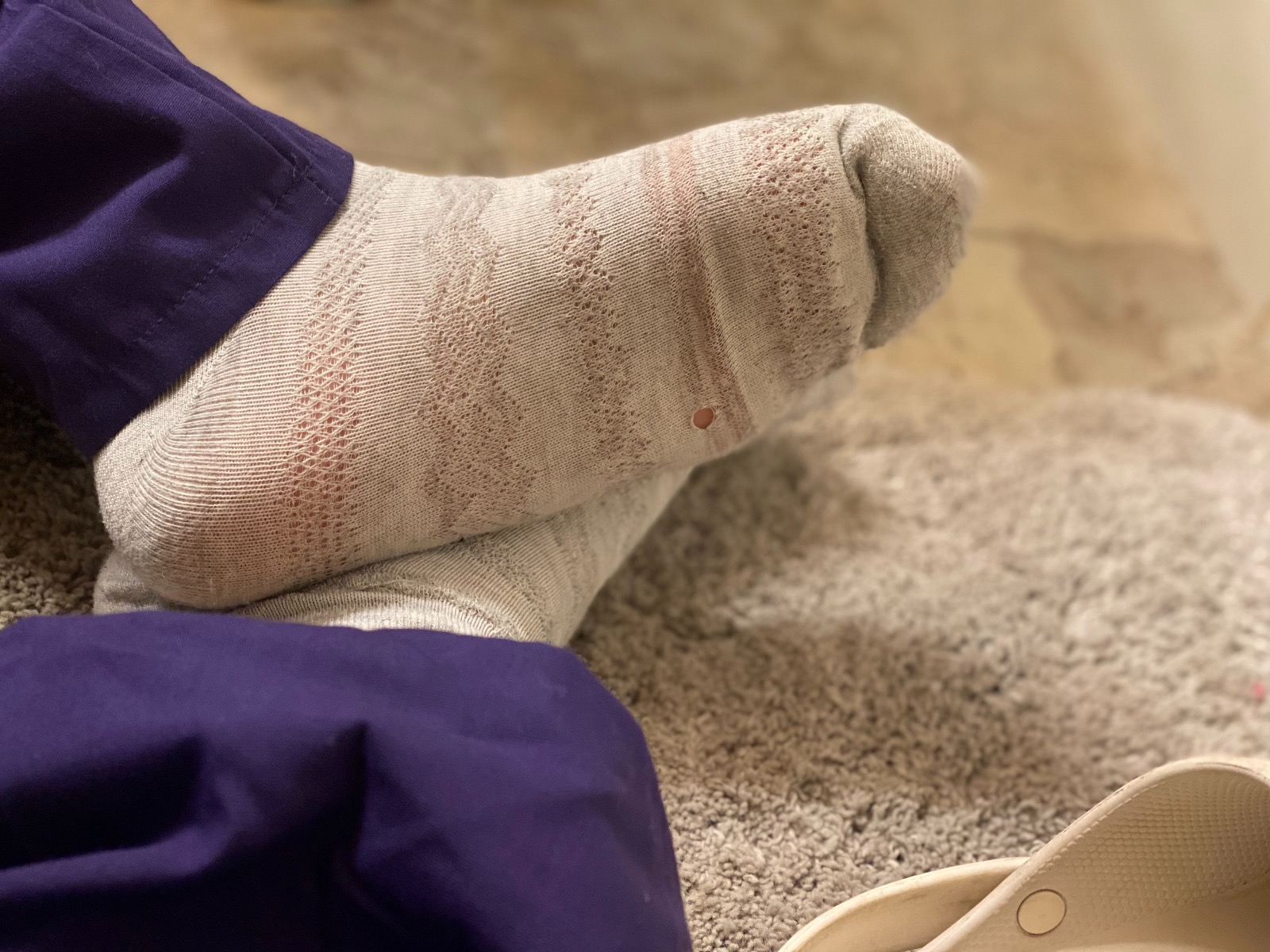 Woman's used dirty smelly socks