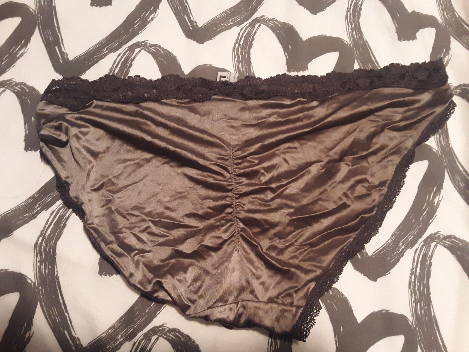 Sexy silver silk and lace panties